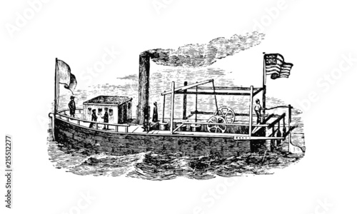 Vintage Tugboat Illustration Wallpaper Mural