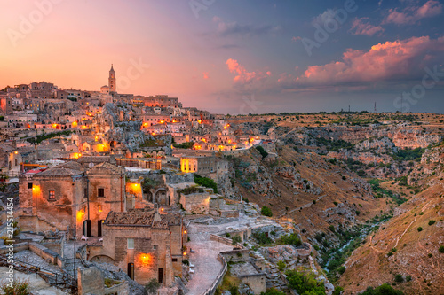 Canvas Prints Cappuccino Matera, Italy. Cityscape aerial image of medieval city of Matera, Italy during beautiful sunset.