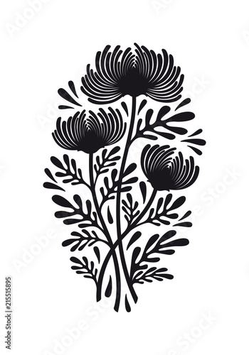 Photo Flat black graphic drawing of bouquet of flowers of chrysanthemum plant with leaves and buds