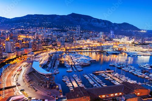 Fotobehang Poort Monaco at Blue Hour Evening