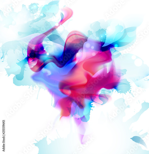 Magenta and blue colorful fantasy blot spread to the light background. Abstract vector composition for the bright design.