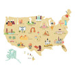 USA tourist vector map with famous landmarks