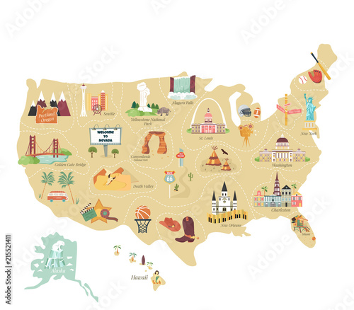 Carta da parati  USA tourist vector map with famous landmarks