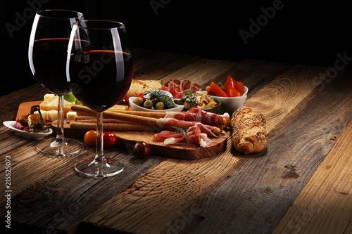 Fotografiet Italian antipasti wine snacks set