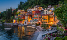Scenic View In The Beautiful Varenna At Sunset, On Lake Como, Lombardy, Italy.