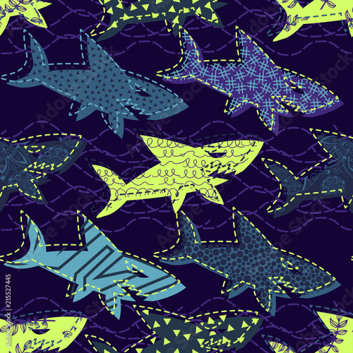 Poster Artificiel Abstract seamless vector underwater pattern for girls, boys, clothes. Creative background with sharks. Funny wallpaper for textile and fabric. Fashion style. Colorful bright