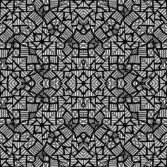 Black and White Ethnic Intricate Seamless Pattern