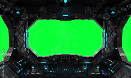 Spaceship grunge interior window isolated