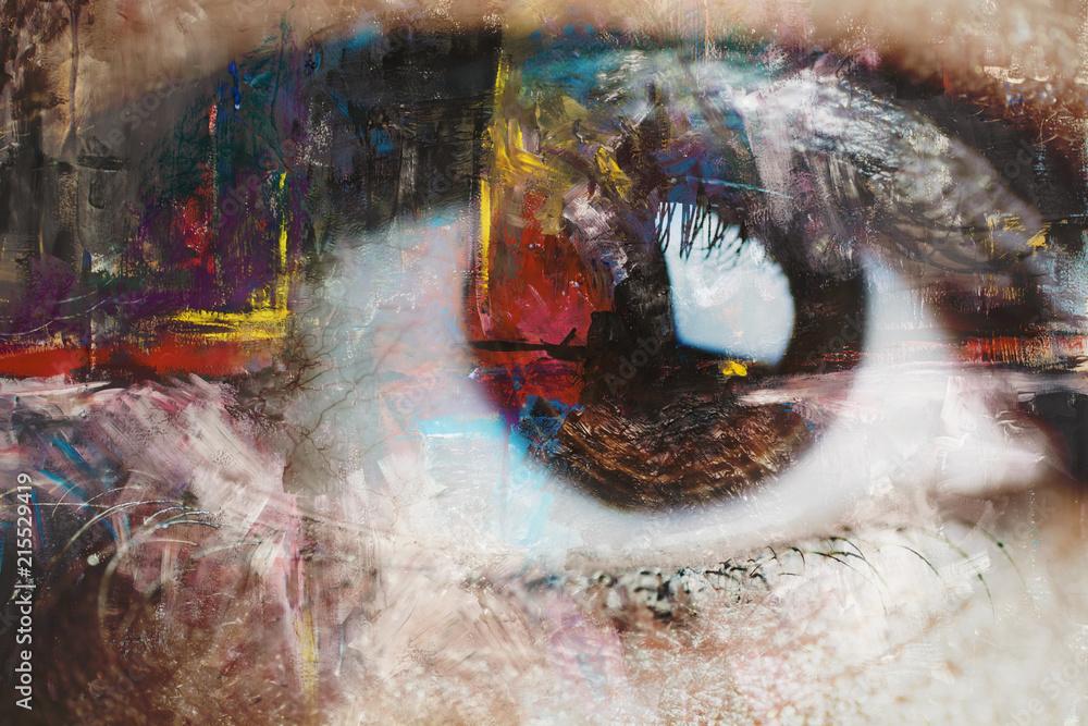 Fototapeta Mixed media of abstract painting and eye