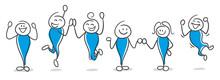 Stick Figure Series Blue / Happy