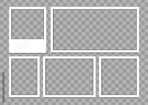 Fototapeta Photo frames with realistic drop shadow. Empty photo frame shadow template obraz na płótnie