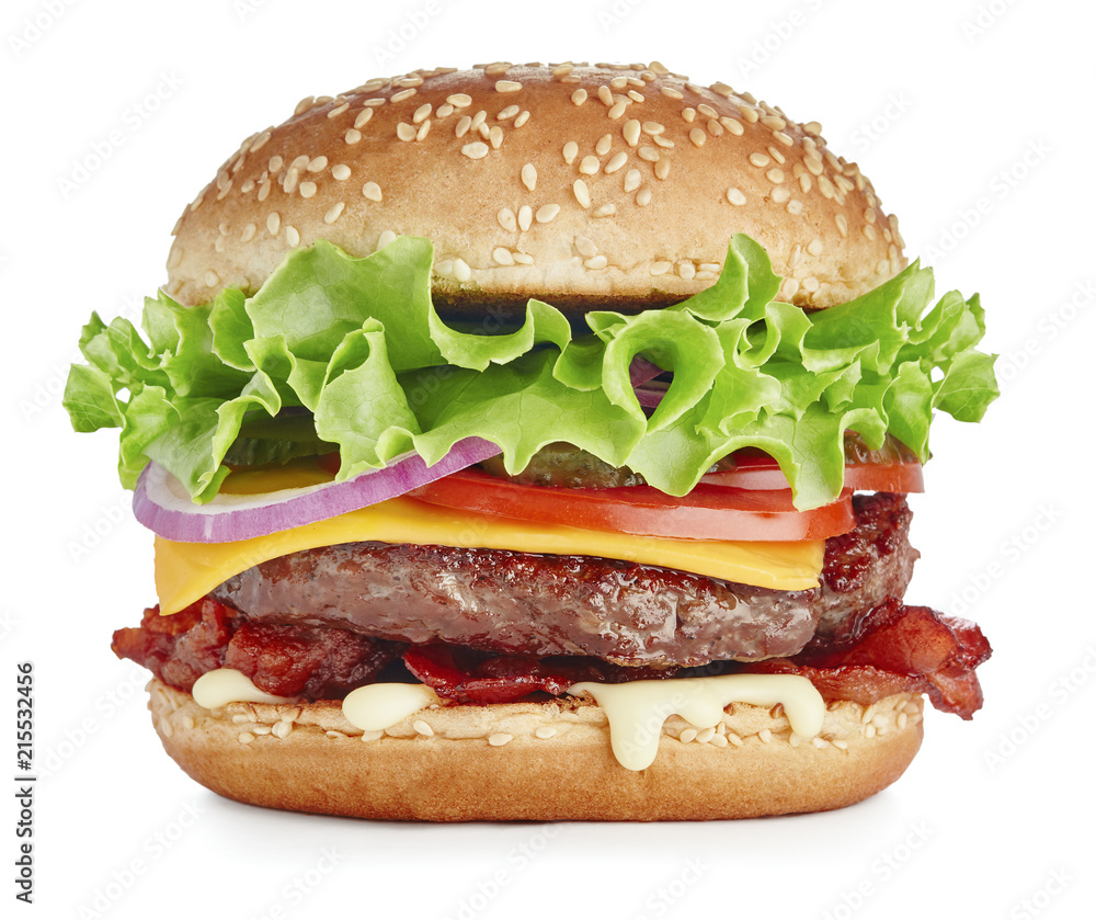 Fototapety, obrazy: fresh tasty burger with cheese, backon and vegetables isolated on white background