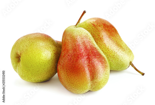 heap of ripe pear fruits isolated on white background Wallpaper Mural