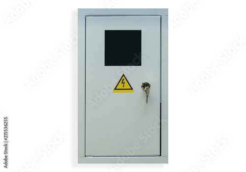 Shield electric with key on white background isolation