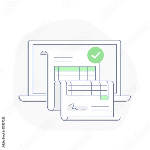 Fotografía  Online invoice payment on computer vector illustration, line cartoon pay bill ta