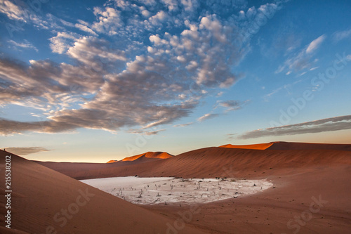 Fotografie, Obraz  Dead Vlei with the dry white mud bottom and dead trees in the Sossusvlei Area se