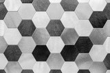 Fototapeta  - Abstract silver metal background. Geometric hexagons.