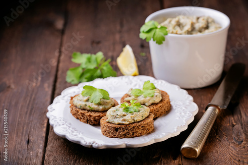 Creamy pate of fish with mackerel, parsley, sour cream