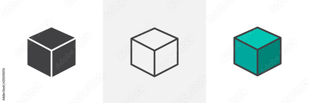 Fototapety, obrazy: 3D Cube icon. Line, solid and filled outline colorful version, outline and filled vector sign. Symbol, logo illustration. Different style icons set. Pixel perfect vector graphics