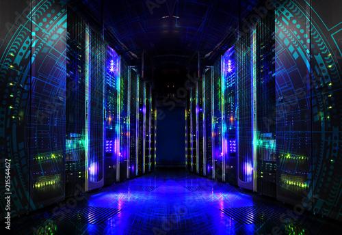 futuristic techno design on background of fantastic supercomputer data center - 215544627