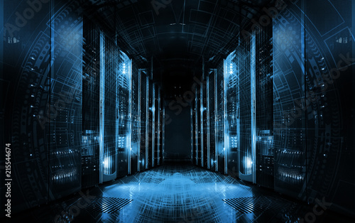 Photo technological background on servers in data center, futuristic design