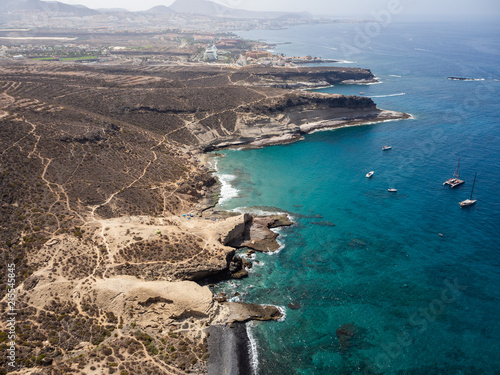 In de dag Groen blauw Aerial view of the south side of the Tenerife Island, including playa de las americas