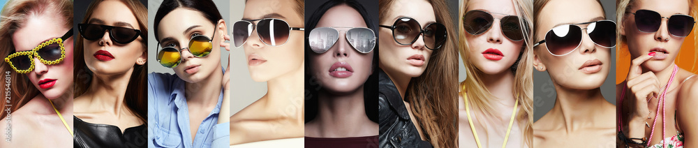 Fototapeta Beauty Fashion collage. Women in Sunglasses