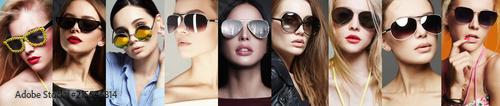 Photo Beauty Fashion collage. Women in Sunglasses