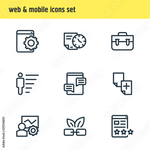 Vector illustration of 9 advertising icons line style