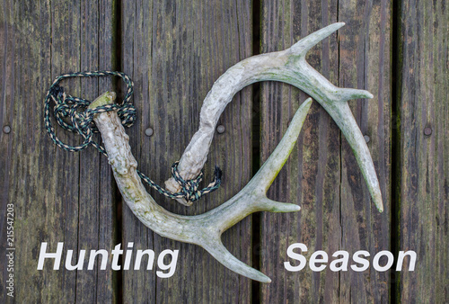 Foto op Canvas Jacht Hunting Season text with Whitetail deer antler rattling horns. Fun outdoor recreational sport activity of hunting.