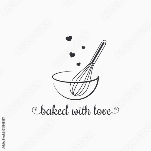 Photo baking with wire whisk logo on white background