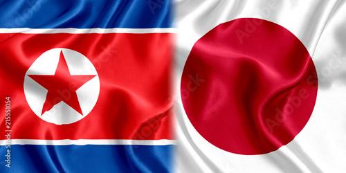 Fotografie, Obraz  Japan and North Korea flag silk