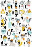 Fototapeta Fototapety na ścianę do pokoju dziecięcego - Cute vector zoo alphabet poster with latin letters and cartoon animals. Set of kids abc elements in scandinavian style