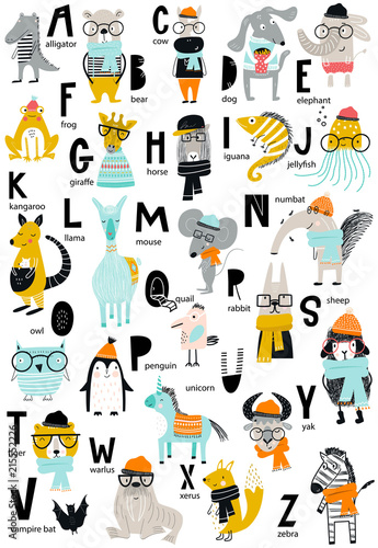 Fotografia  Cute vector zoo alphabet poster with latin letters and cartoon animals