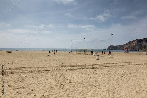 Fotografia  Empty sandy beach in the Nazare area
