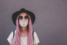 Young Hipster Woman With Long ...