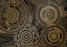 Mandala Movement In Golden Lines On Black Background. Vector Illustration