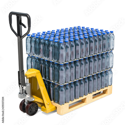 Hydraulic pallet jack with water bottles wrapped in the shrink film, 3D renderin Tablou Canvas