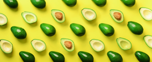 Avocado pattern on yellow b...