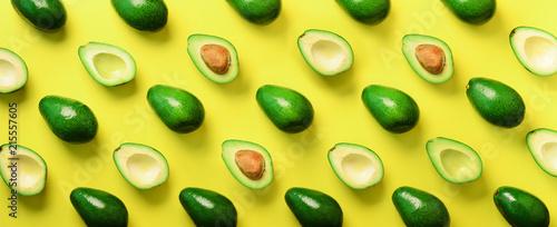 Avocado pattern on yellow b...