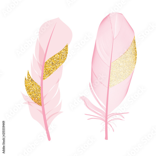 Pink and Golden Glitter Painted Birds of Feather Isolated on White Background. Vector Illustration