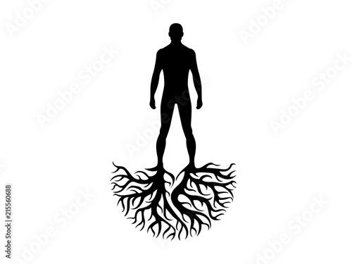 Cuadros en Lienzo Person roots silhouette heritage illustration