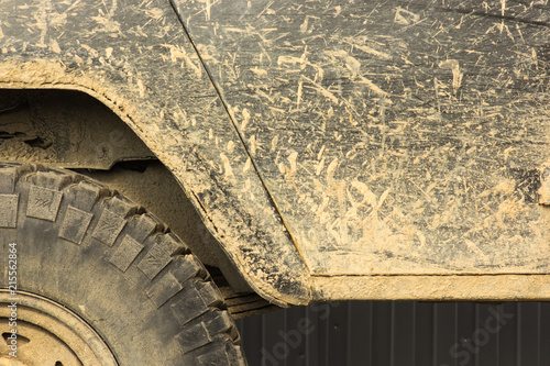A car in the mud, after a trip off-road, close-up Wallpaper Mural