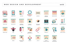 Web Design And Development. Set Of Pixel-perfect Icons. Flat Color Style. Variety Of Unique Visual Metaphors Suitable For Wide Range Of Uses.