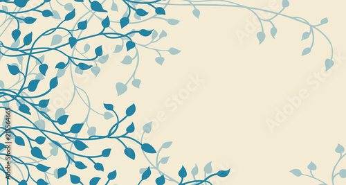 Fotografie, Obraz hand drawn ivy and vines in blue on a yellow background vector with leaves climb