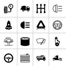 Set Of 16 Vehicle Filled And Outline Icons