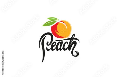 Cuadros en Lienzo Peach Orange Text Logo Design Illustration