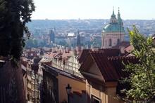 Looking Down Old Castle Stairs Towards Charles Bridge, Prague.