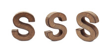 Single Sawn Wooden Letter Isolated