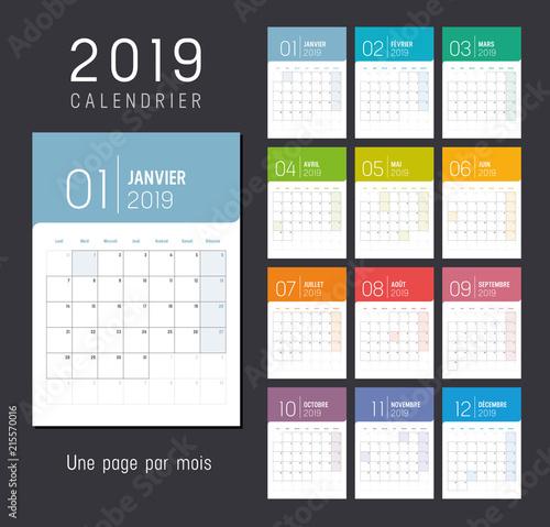 Calendrier Planning 2019.Calendrier Planning 2019 Une Page Par Mois Kupit Etot